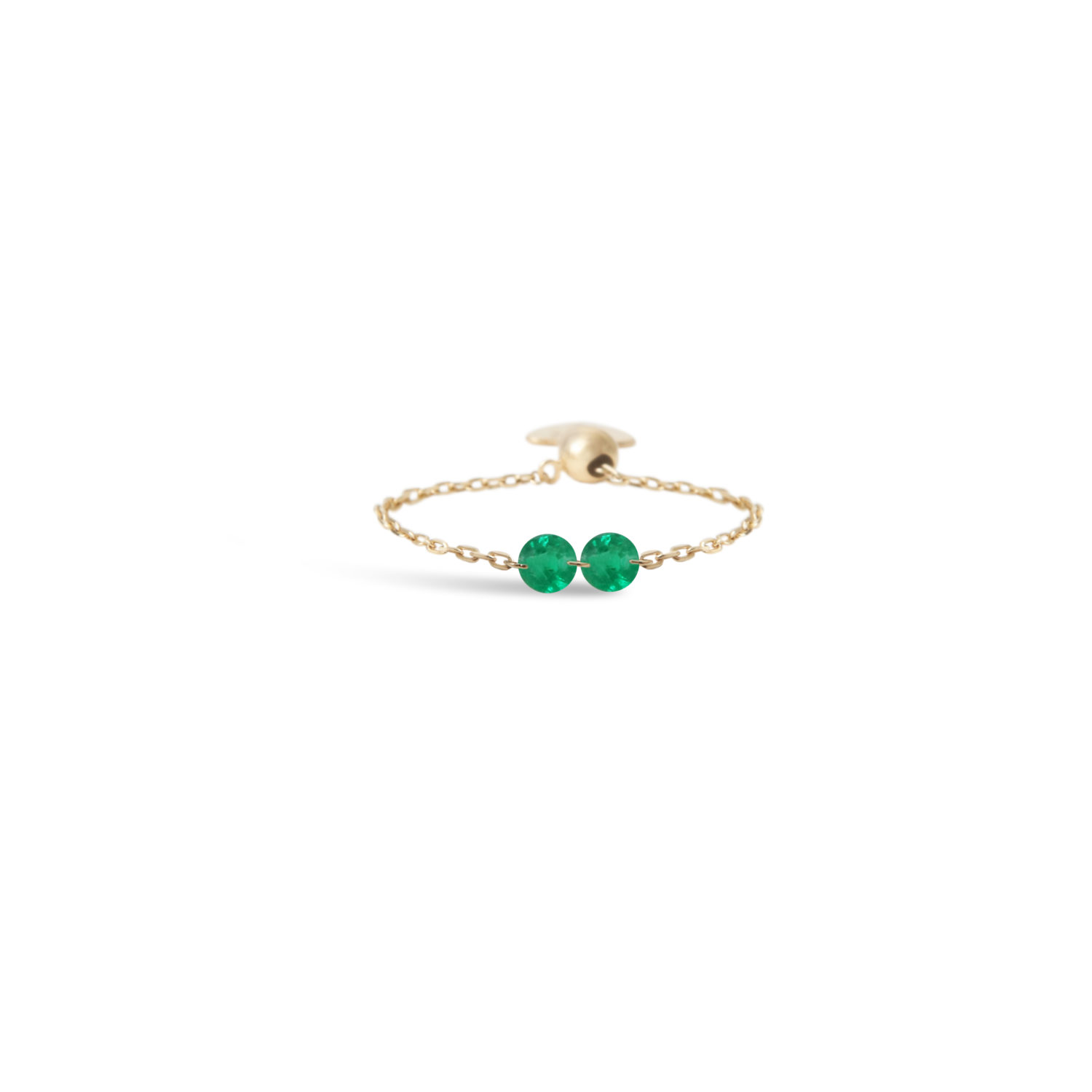 Chain ring 2 emeralds x Persee Paris