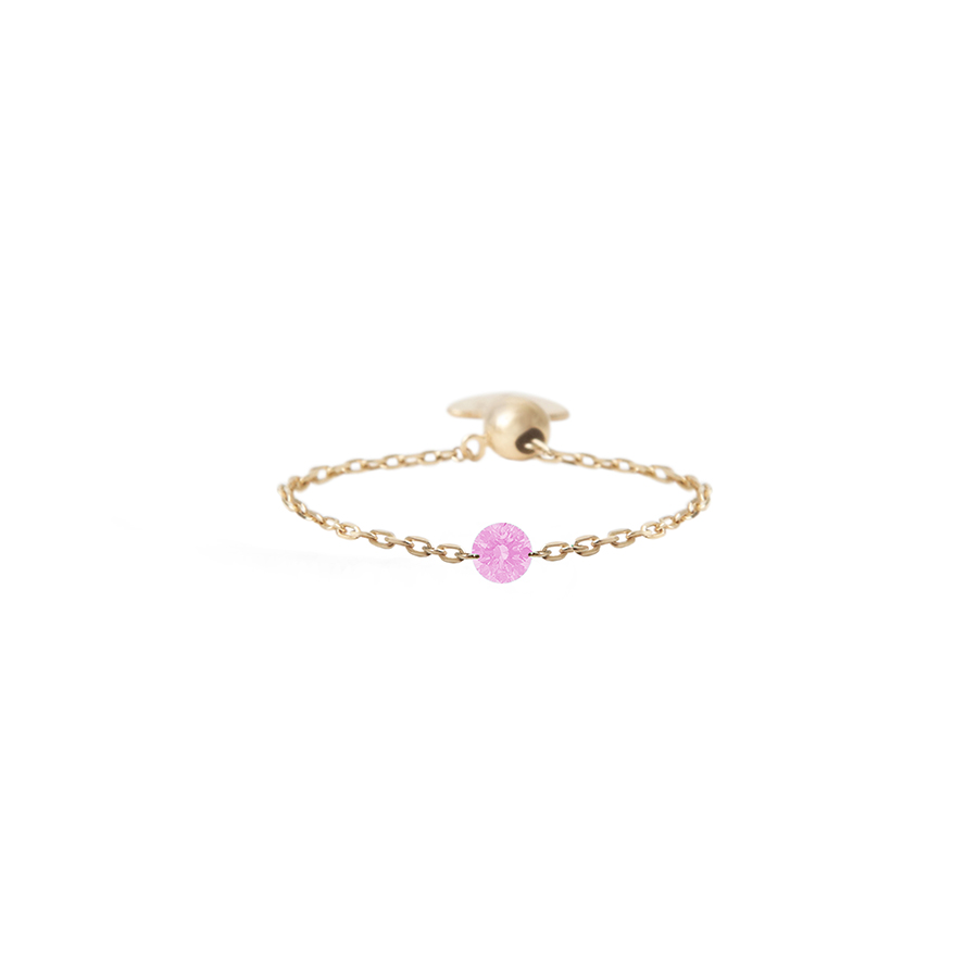 BAGUE CHAINETTE SAPHIR ROSE PERSEE
