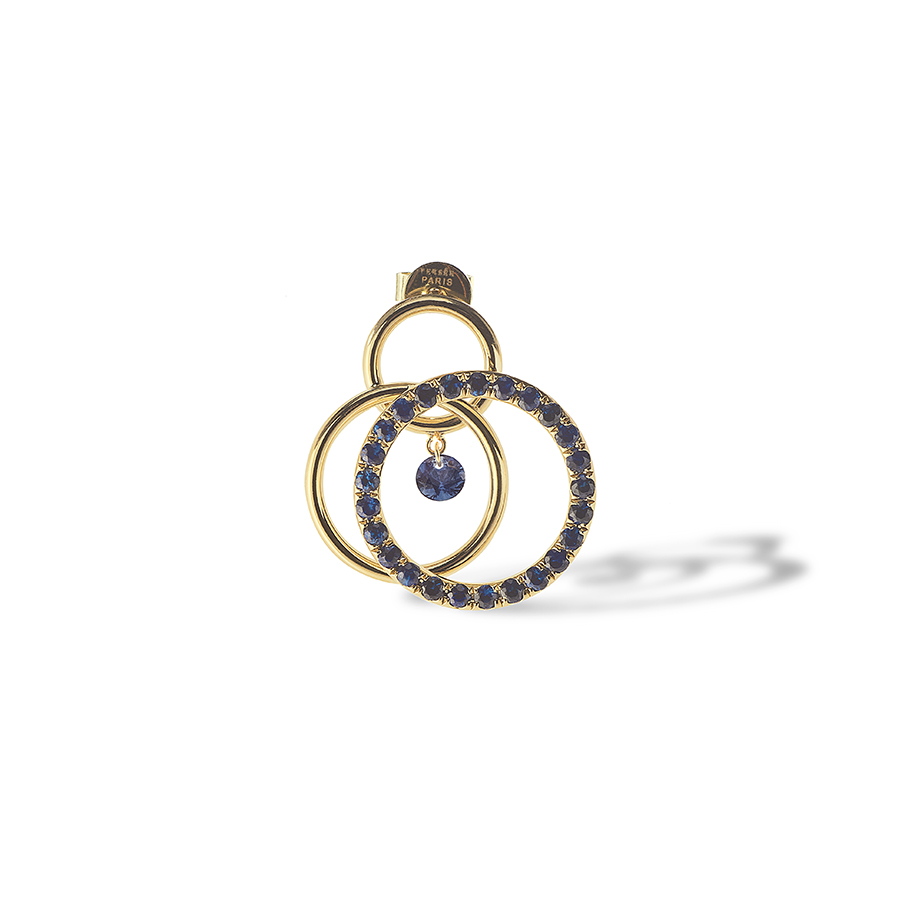 BOUCLE D'OREILLE TOURBILLON SAPHIRS PERSEE