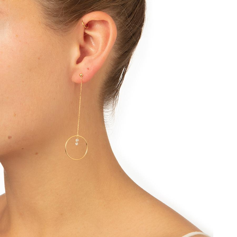 Boucle d'oreille 2 diamants