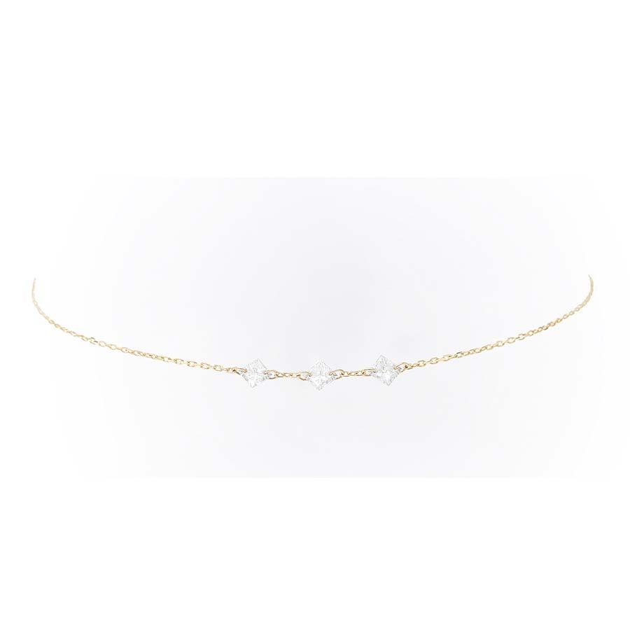 Bracelet danaé 3 diamants suspendus et or 18 carats - Persée Paris