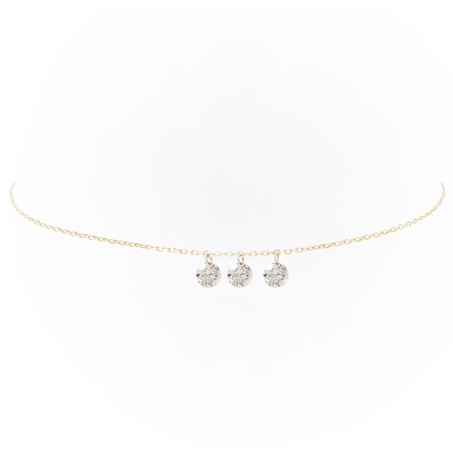 Bracelet Danaé 3 diamants supsendus et or 18 carats - Persée Bijoux