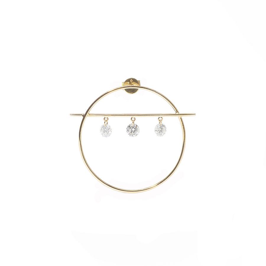 Boucle d'oreille fibule 3 diamants Persée Paris