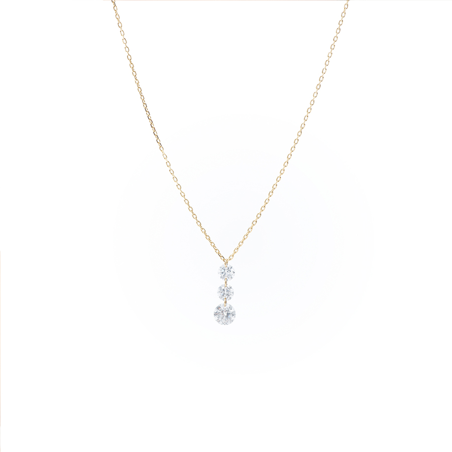 Collier 3 diamants ronds 18 carat Persée